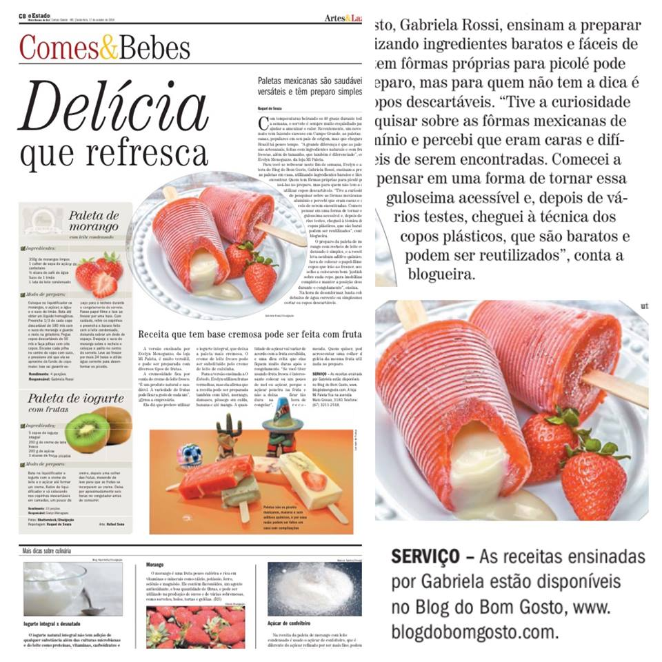 Jornal O Estado de MS publica Paletas do Bom Gosto na seção 'Comes e Bebes'