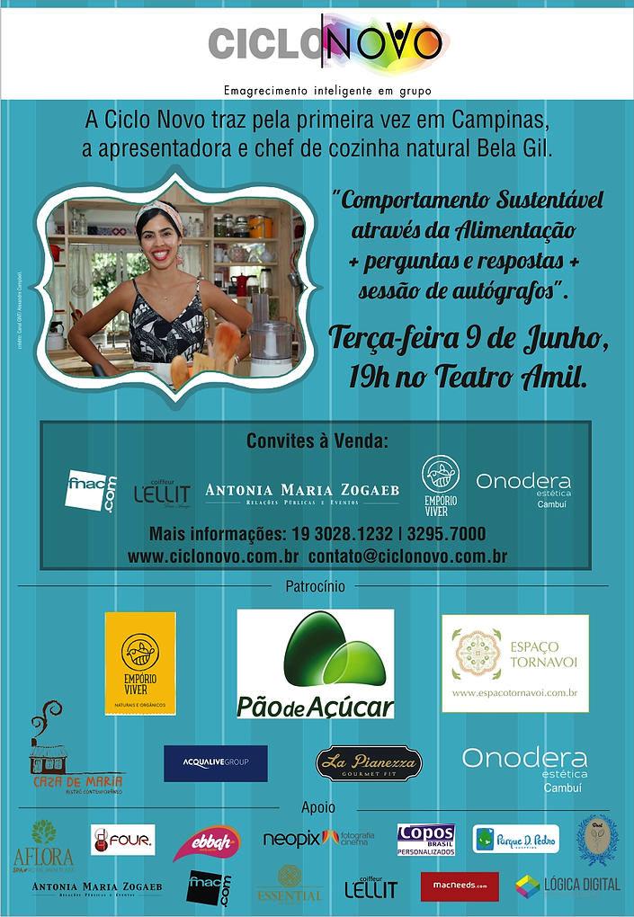 Sorteio: Concorra a convite VIP para conhecer Bela Gil no dia 9, em Campinas/SP