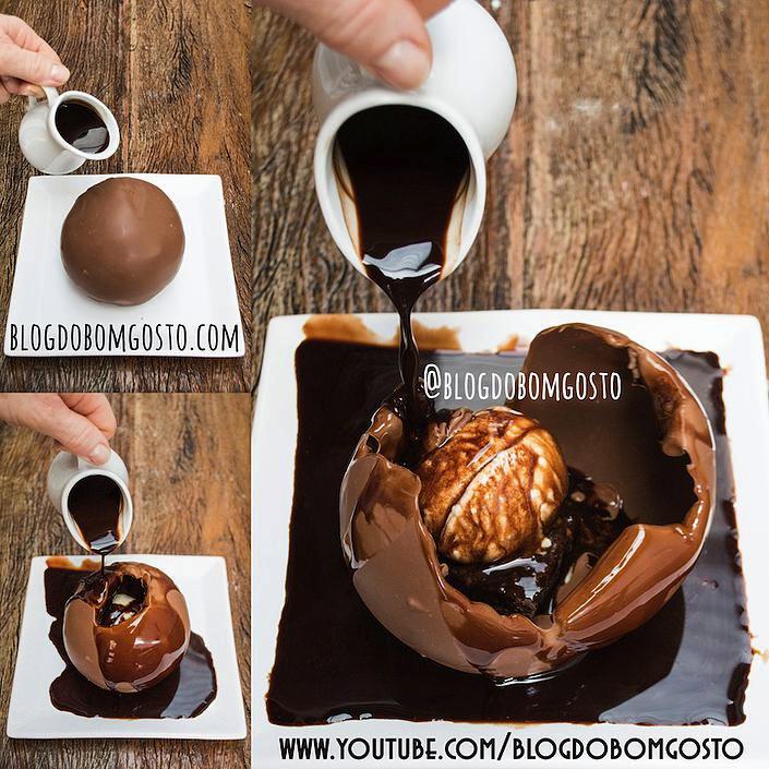 Bola de Chocolate que derrete sobre brownie (feita com bexiga)