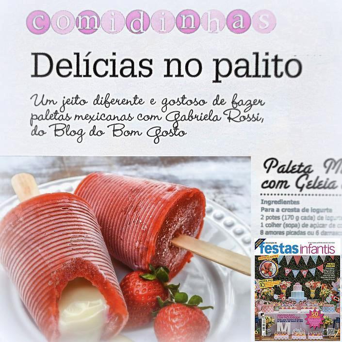Revista 'Decoração de Festas Infantis' sugere Bom Gosto na seção 'Comidinhas'