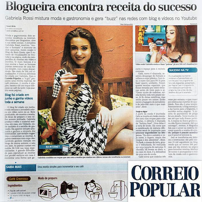 Correio Popular destaca Blog do Bom Gosto na seção 'Comportamento'