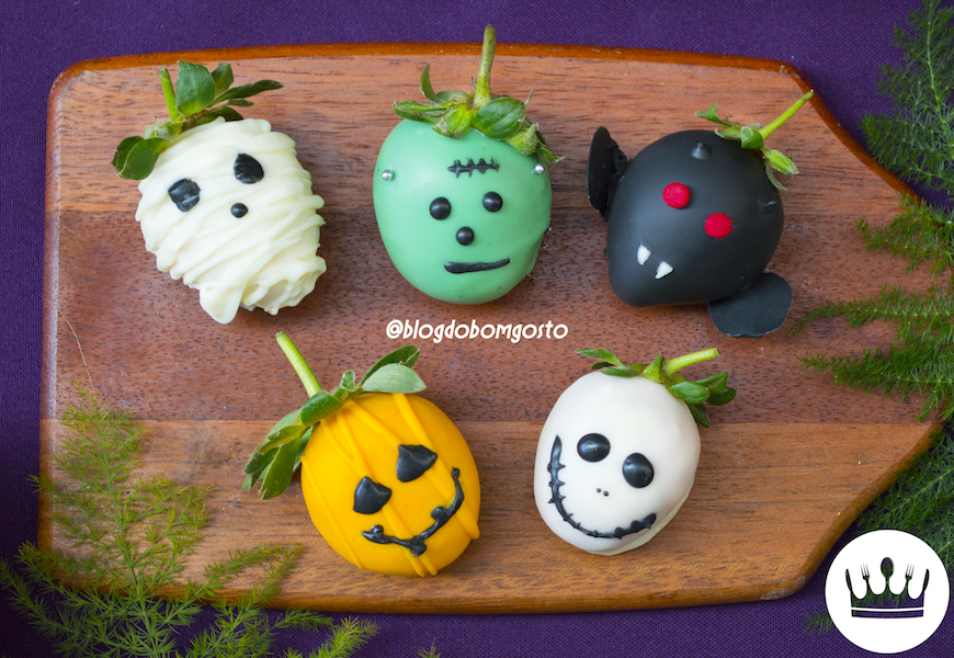 MORANGOS DE HALLOWEEN (COM CHOCOLATE)