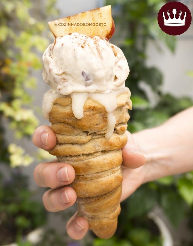 CONE CINNAMON ROLL – Casquinha de canela para comer com sorvete!